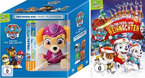Paw Patrol Box : DVD (Toggolino) Volume 1-7 inkl. Plüschfigur Skye + DVD Rettet Weihnachten im Set - Deutsche Originalware [8 DVDs] -