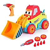 VATOS Bulldozer Spielzeugautos für Kleinkinder Disassemblable Spielzeug Auto Kit Baufahrzeuge Kinder DIY Spielzeug Bohrmaschine Schrauben Tool Kit mit Klang & Lichter Geeignet für Kinder ab 3 Jahren