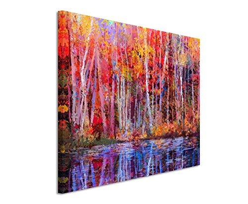 fotoleinwand 120 x 80 XXL Fotoleinwand 120x80cm Ölgemälde von farbendfrohen Bäumen im Herbst auf Leinwand exklusives Wandbild moderne Fotografie für ihre Wand in vielen Größen