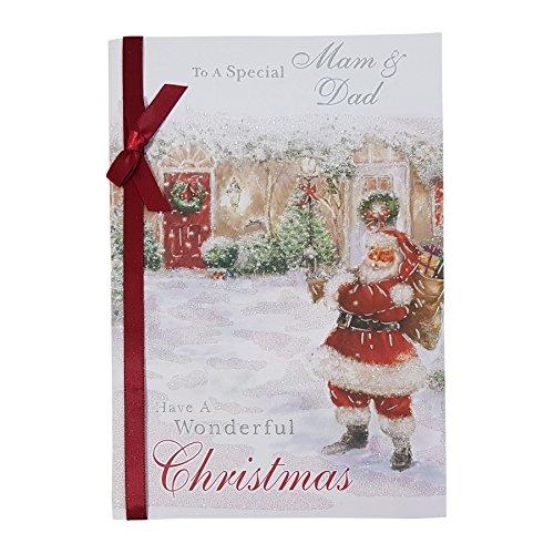 vers une spéciale Mam & Dad Have A Wonderful ruban de Noël Paillettes Strass carte 23 x 15 cm