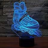 3D Lampes Illusions Optiques Led Roller Patinage Modélisation Veilleuse Agressif Inline Bureau Lampe Garçon Chambre Chevet Décor Luminaires