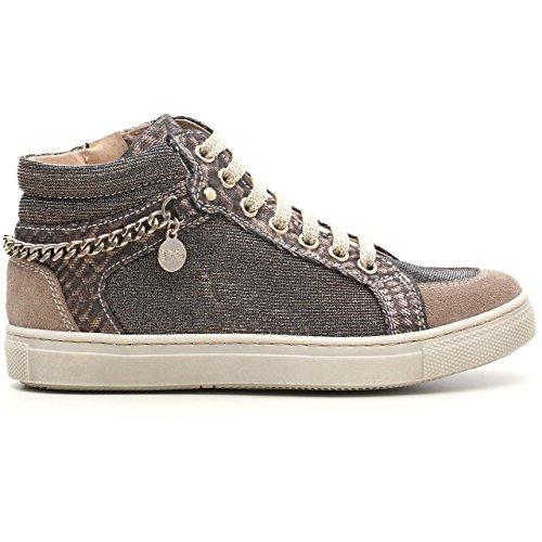 Nero Giardini Junior a528211F, Mädchen Sneaker aus Wildleder und Stoff Glitter Velour Dracena