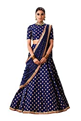 Fabron Navy Blue Butti Work Lehenga Choli Set For Women