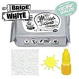 Massa Ticino Tropic Weiss 1 kg weiß incl. profesioneller Bäckerstärke von yagma und hochkonzentrierter Lebensmittelfarbe (Gelb)