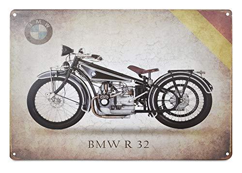 Kate Retro, antikes Blechschild, Heimposter, Bastelbedarf, Autos und Motorräder, VW, Harley Davidson Themes, authentisch, Wandkunst Größe (30 x 20 cm) BMW R32 ()