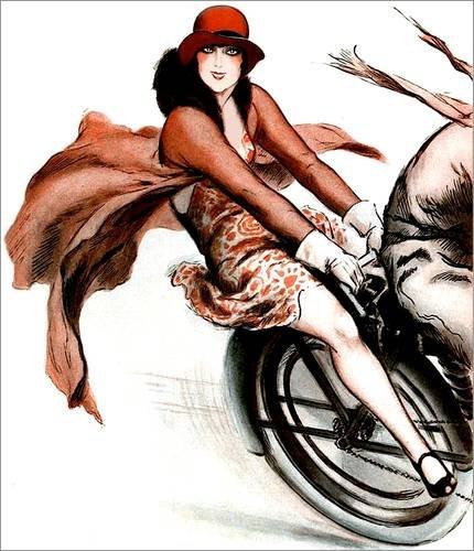 Leinwandbild 90 x 110 cm: Flottes Flapper Girl auf Motorrad - fertiges Wandbild, Bild auf Keilrahmen, Fertigbild auf echter Leinwand, (Kleid Echte Flapper)