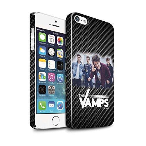 Officiel The Vamps Coque / Clipser Brillant Etui pour Apple iPhone SE / Pack 6pcs Design / The Vamps Séance Photo Collection Effet Carbone