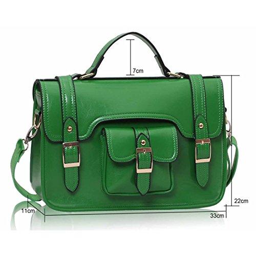 Zarla-Borsa in pelle sintetica da donna con tracolla, con fibbia e tracolla e tracolla lunga Verde (verde)