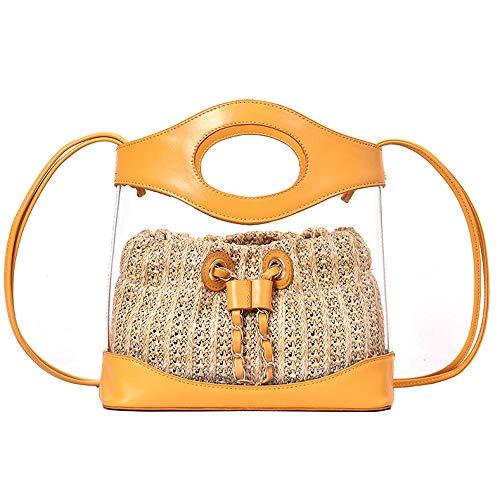 LTTGG PU weiblichen Beutel - neue Sommer transparente Eimer Tasche zweiteilige Strohsack kleine Schulter umschlungene Handtasche 27x25x9cm @ gelb
