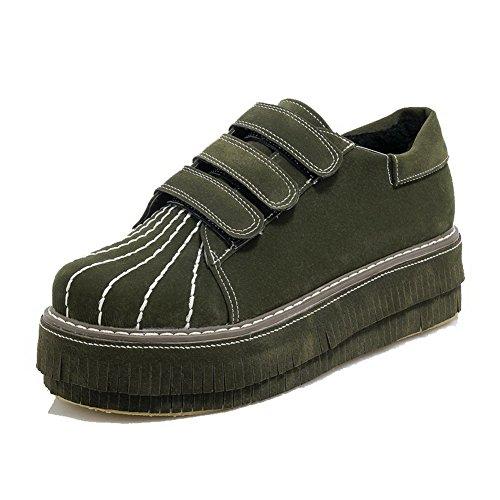 AgooLar Femme à Talon Correct Dépolissement Couleur Unie Velcro Rond Chaussures Légeres Vert