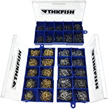 THKFISH  Ganchos de pesca, 1500 piezas Negro-Plata-Bronce # 3 ~ # 12 Anzuelos de pesca de agua salada Anzuelos de pesca de agua dulce Anzuelos de pesca