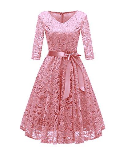Babyonlinedress Damen Vintage Spitzenkleid 3/4 Arm Brautmutter Party Kleid Festkleid Große Größe...
