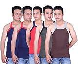 Zimfit Solid Gym Vests - Pack of 5 (BRN_...