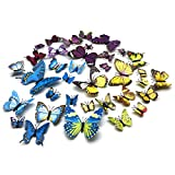 FUJIE 36 PCS 3D Schmetterlinge Wandsticker Dekoration Wandtattoo Wasserdicht Kunststoff Schmetterling Dekorationen Magnet + Klebepunkten (12 Blau, 12 Gelb, 12 Lila)