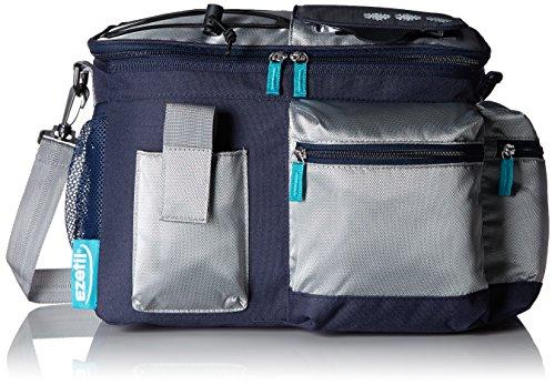 EZetil Kühltasche KC Travel in Style 12 zur Kühlung von Speisen und Getränken - ob unterwegs beim Wandern und Picknicken oder im heimischen Garten, Blau/Silber 11,3 Liter Fassungsvermögen 36x20x26cm -