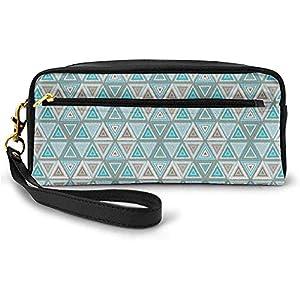 Estilo geométrico primitivo Triángulos auténticos de temática étnica en Paleta de Colores Aqua Pequeña Bolsa de Maquillaje Estuche de lápices 20cm * 5.5cm * 8.5cm