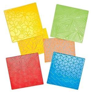 Baker Ross Platos de Goma con patrón geométrico Floral para Crear Tarjetas y collages Decorativos (Paquete de 4)
