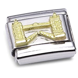 Nomination Composable Classic Symbole G.B. Relief Stahl und Gold 18k (Tower Bridge) 030144