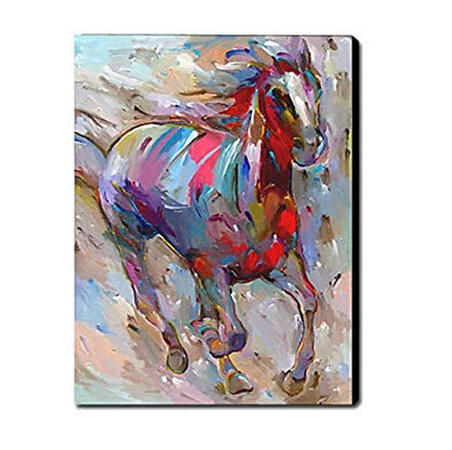 Djkaa Handgemalte Leinwand Malerei-Pferd-Tier-Ölgemälde Wandkunst-Moderne Leinwand Kunstwanddekor (Haben Sie Einen Rahmen)