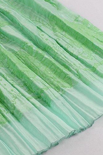 Babyonlinedress Femme Sexy Robe Elastique d'été de Plage National Style Bohême Bustier avec l'Impression Fleur en Polyester-Deux types d'usure Vert