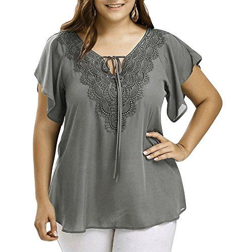 ZEELIY Damen Mode Casual Chiffon Plus Size Curve Appeal Spitze V-Ausschnitt T-Shirt Bluse Kurze Fledermaus Ärmel Sommer Tops Tees Oberteile(XXX-Large,Grau)
