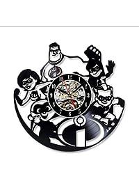 The Incredibles Vinyl Record Reloj de Pared de Dibujos Animados Creativos Kids Room Decor Reloj Colgante