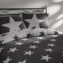 Aminata U2013 Bettwäsche 135x200 Cm Baumwolle + Reißverschluss Sterne Grau  Anthrazit Weiß Bettbezug Sternchen Stars Wendebettwäsche