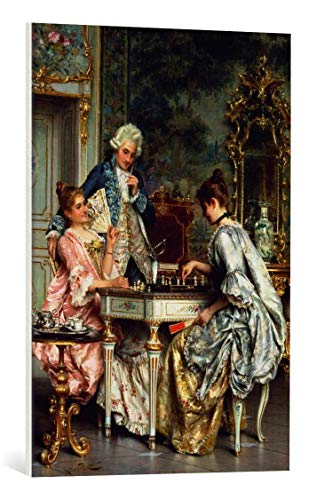 kunst für alle Leinwandbild: Arturo Ricci Beim Schachspiel im Rokoko - hochwertiger Druck, Leinwand auf Keilrahmen, Bild fertig zum Aufhängen, 55x80 cm Ricci Kunst