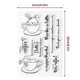 ECMQS Rabbit in Cup DIY Transparente Briefmarke, Silikon Stempel Set, Clear Stamps, Schneiden Schablonen, Bastelei Scrapbooking-Werkzeug