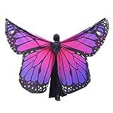 K-youth® Danza Del Vientre Mariposa Alas De ángel Adulto Suave Rainbow Mariposa Alas Danza Disfraz Accesorio Alas De Mariposa Tela Chal Bufanda Señoras Vestido Para Disfraz (Rosa caliente)