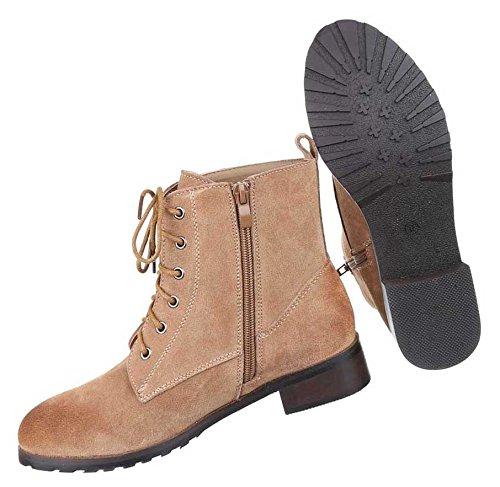Damen Stiefeletten Schuhe Wildleder Boots Used Optik Schwarz Braun Grau 36 37 38 39 40 41 Hellbraun