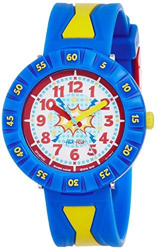 Flik Flak Jungen-Armbanduhr Analog Quarz One Size, weiß, blau