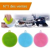 éPonge Silicone Kangrunmy 3Pcs Coque En Silicone à Vaisselle à Laver éPonge à RéCurer De Cuisine Plats De Nettoyage AntibactéRien Dish Washing Sponge RéUtilisable