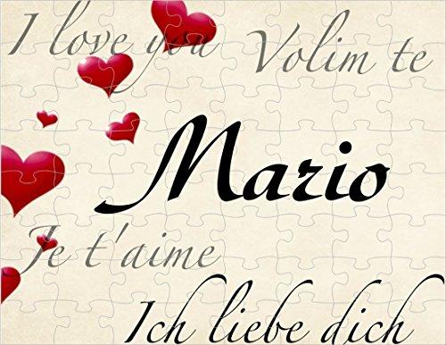 Puzzle bedruckt mit I love you, Ich liebe dich, je t'aime, Volim te Mario oder Wunschnamen