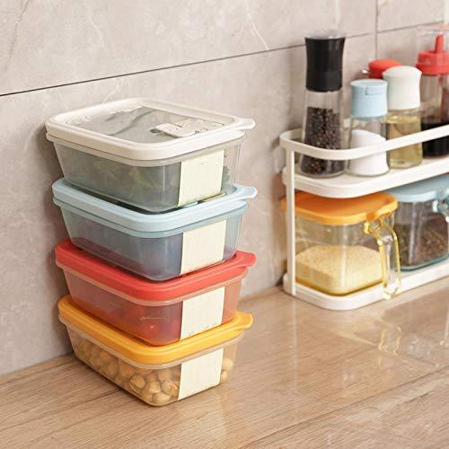 Luftdichte LebensmittelVorratsbehälterSet Beste Küche Speisekammer GetreidemehlContainer Klar Kanister Mit Neuen Haltbaren Deckeln 6,8 * 13,2 * 18,6 Cm 4 Stück Set Weiß + Blau + Rot + Gelb (Gelb Küche Kanister-sets)