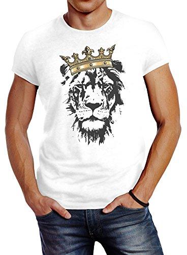 (Neverless Herren T-Shirt König der Tiere Löwen-Kopf mit Krone Slim Fit Weiß L)