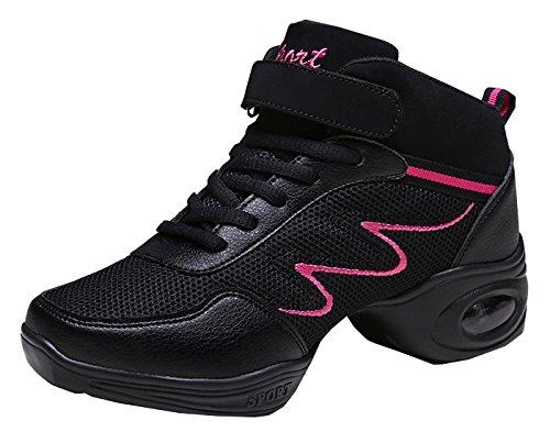 Cross Jazz Dance Hip Hop Fitness High Top Erwachsene Sneakers Moderne Breathable Jazz Mesh Dance Schuhe Schwarz 39 ()