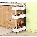 Aiyoo Gap Kitchen Slim Slide out Storage Tower rack -- mobile a 3 livelli scaffale organizer con rotelle universali – Contenitore Slim scorrevole a cremagliera per spazi stretti lavanderia, bagno e cucina 3-Tier White