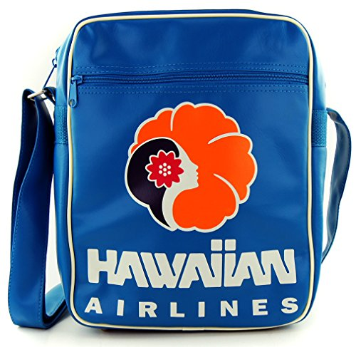 LOGOSHIRT - Retro Tasche Schultertasche HAWAIIAN AIRLINES - TÜRKIS - CARBIN BAG LARGE