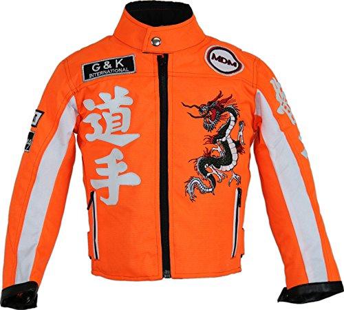 Kinder Racing Motorradjacke in Neon Orange (S)