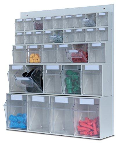 hünersdorff Wand-Set Multistore-Lagersystem, 33 Klarsichtbehälter, 1 Stück, lichtgrau, 461133