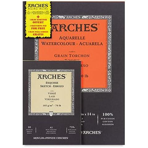BLOCK 12 PAPELES ACUARELA ARCHES GRANO GRUESO 300g 26x36cm + BLOCK 10 ESBOZO ARCHES A5 REGALO