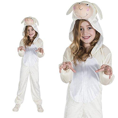 Schaf Weißes Schäfchen Lämmchen Lamm Kinderkostüm Einteiler (Kostüm Lamm)
