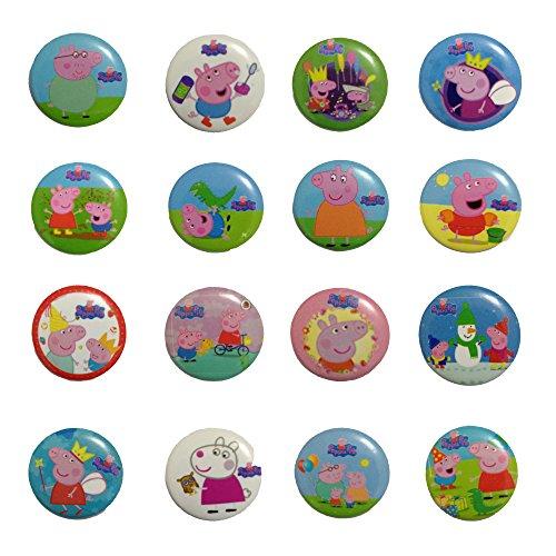 Peppa Pig 11/10,2cm Badge Button Pin Button Set, 16-pcs
