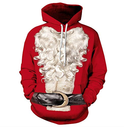 CPHGG 3D Gedruckt Kapuzenpullover Unisex Christmas Farbdruck Kapuzenpullover Weißer Bart Cosplay Kostüm Einfach Lässiges Leichtgewicht Männer Und Frauen Kapuzenpulli Tide (Weiss Schnee Cosplay Kostüm)