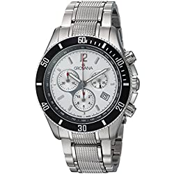 GROVANA 1615.9132 Men's Quartz Swiss Watch with Silver Dial Chronograph Display and Silver Stainless Steel Bracelet
