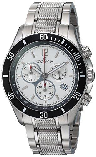 Grovana 1615,9132 - Reloj cronógrafo de cuarzo para hombre, correa de acero inoxidable color plateado (cronómetro, agujas luminiscentes)