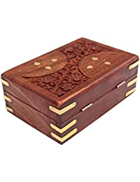 ITOS365 Handmade Wooden Jewellery Box for Women Jewel Organizer Hand Carved Carvings Gift Items
