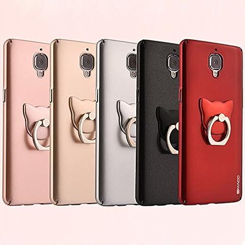 OnePlus 3custodia, ultra slim shield Shell Skin Cover Posteriore Per OnePlus tre con porta anelli rose gold