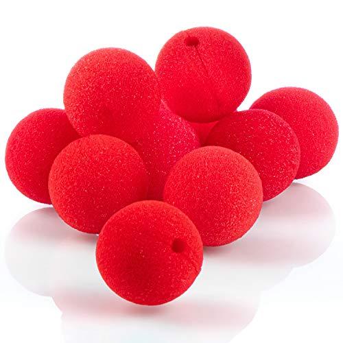 COM-FOUR® 10x Clownsnasen aus Schaumstoff - falsche Nasen in Rot für Kostüme, Ø 5cm, für Fasching, Karneval oder andere Mottopartys (10 Stück)